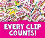 cut out box tops laying n a pile, every clip counts banner on the bottom of photo
