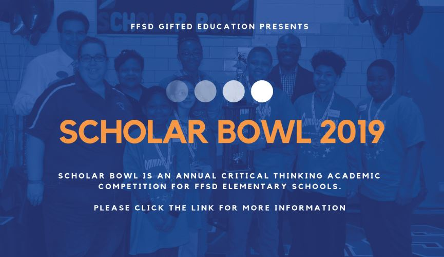 A banner promoting the Scholar Bowl
